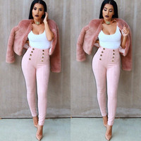 Suede Stretchable High Waisted Pants