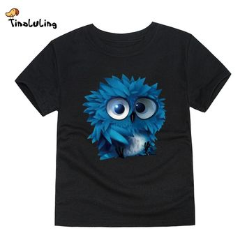 TINOLULING 12 Colors 2017 Boys Girls owl T Shirt Kids T-Shirt Children Tops Baby Tees For 2-14 Years