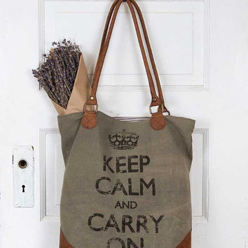 Keep Calm and Carry On Graphic Tote Bag Olive Green Canvas Purse Leather English Market Bag Distressed Unique