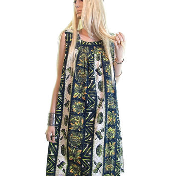 polynesian tiki mask vintage 60 dress green hippie dress waikiki pineapple surf luau boho tribal ethnic mod sun bohemian hawaiian dress s m