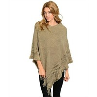 Cozy Fringe Sweater Poncho