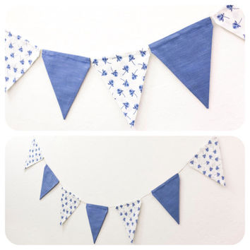 Vintage Blue White Floral Bunting Fabric Pennant Double-sided Flag Banner Girls Room Birthday Party Baby Dorm Photo Prop Wedding Decoration