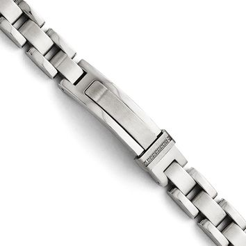 Men's 12mm Stainless Steel Panther Link and CZ ID Bracelet, 8.25 Inch
