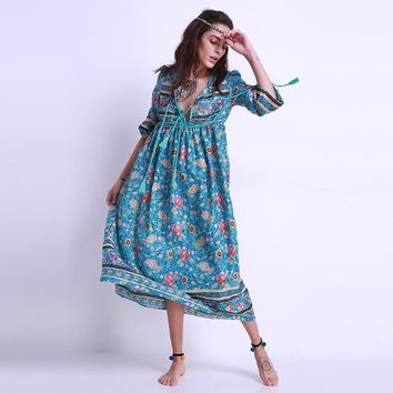 Boho 2017 Fashion Women Ladies Chiffon Long Maxi Dress Long Sleeve Plunge V Neck Loose Casual Beach Floral Midi Sundress Kaftan