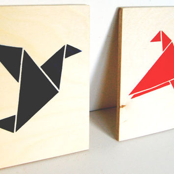 Love Birds, Origami Birds on Plywood, Original Stencil Art on Plywood Block. Hand Cut and Hand painted Artwork.