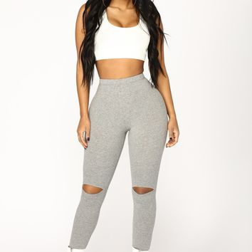 Basic Knee Slit Leggings - Charcoal