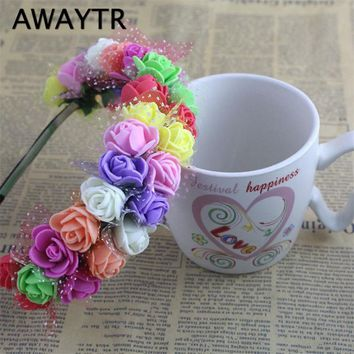 AWAYTR 1PC Women Fashion Bohemian Style Beach Flower Lace Hair Bands Headband Hair Accessory 9 Color Bride Wedding Hair Jewelry