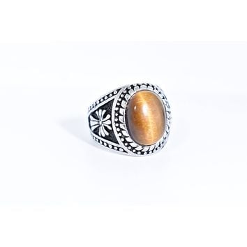 Vintage 1980's Gothic Gold Finished Stainless Steel Genuine Tiger's Eye Ring