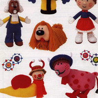 Magic Roundabout Knitting Pattern PDf instant download. Intarsia, 6 Toys, Florence, Dylan, Ermintrude,  zebedee, Dougal, Brian