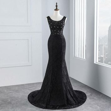 style  black lace  fabric sexy Mermaid wedding dress and Sexy backless  bridal dress ball gown