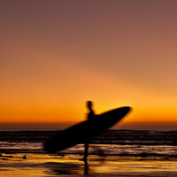 Beach Photography - Home Decor, Photography - Sunset, Surfer, Surfing, Beach, Moon, Ocean, Resort, Orange, Reds, Yellows, Sun, San Diego