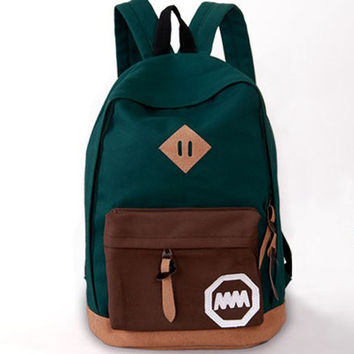 Fashion Korea Style Contrast Color School Backpack Travel Bag