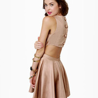 Retro-Inspired Brown Dress - Open Back Dress - $47.00