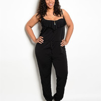 Plus Size Ruffle Front Jumpsuit in Mint or Black