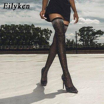 Eilyken 2018 Fashion Runway Crystal Stretch Fabric Sock Boots Pointy Toe Over-the-Knee Heel Thigh High Pointed Toe Woman Boot