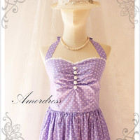 Purple Party Dress Lavender..SIZE S..Wedding Prom Party Dress Vintage Inspired Halter Neck  White Polka Dot White Lace Once Upon a Time