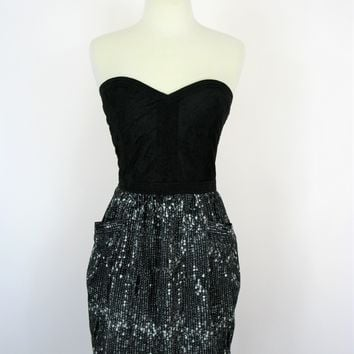 Sugar Lips Strapless Quilted Bustier & Tulip Pocket Skirt Dress M