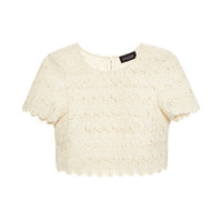 Marie Embroidered Lace Cropped Top