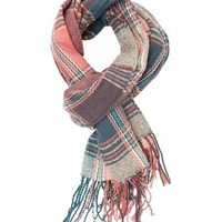 Oversized Plaid Wrap Scarf by Charlotte Russe - Green Combo