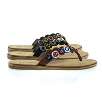 Made01S by Bamboo, Vintage Foam Padded Flat Thong Sandal w Tribal Inspired Beaded Strap