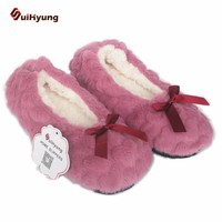 New Winter Warm At Home Women Slippers Cotton Shoes Plush Female Floor Shoes  Bow-knot Fleece Indoor Shoes Woman Bedroom Slippe