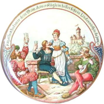 """Villeroy & Boch Mettlach Wall Charger #1044 Landsknechte & Barmaid, 17½"""""""