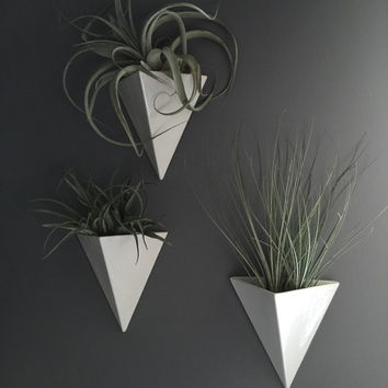 Pyramid Wall Hanging Planter Vertical Garden Modern Mid Century Home Decor MADE TO ORDER
