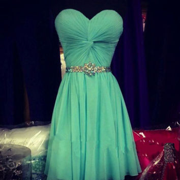 Homecoming Dress,Green Chiffon Strapless Beaded Short Prom Dress