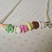 Miniature Food Jewelry Ice Cream Cone Necklace Mint Chocolate Chip Strawberry Vanilla Six Ice Cream Scoops