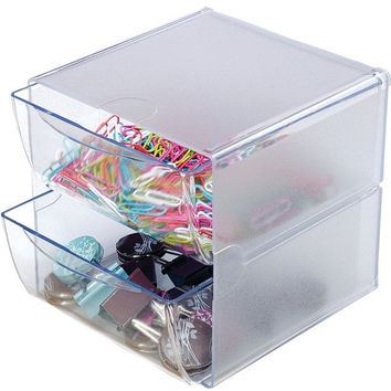 Deflecto - Cube with 2 Drawers (Clear)