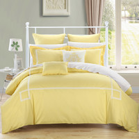 Chic Home Wilma Yellow King - 7 pc Embroidered Comforter Set