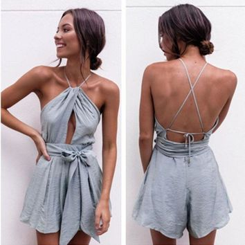 VONEHL5 Urban Outfitters' Fashion Sexy Sleeveless Backless Hollow Halter Waistband Romper Jumpsuit Shorts