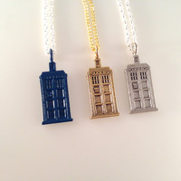 Exclusive Doctor TARDIS Blue Silver and Gold Charmed Interpreted Necklace