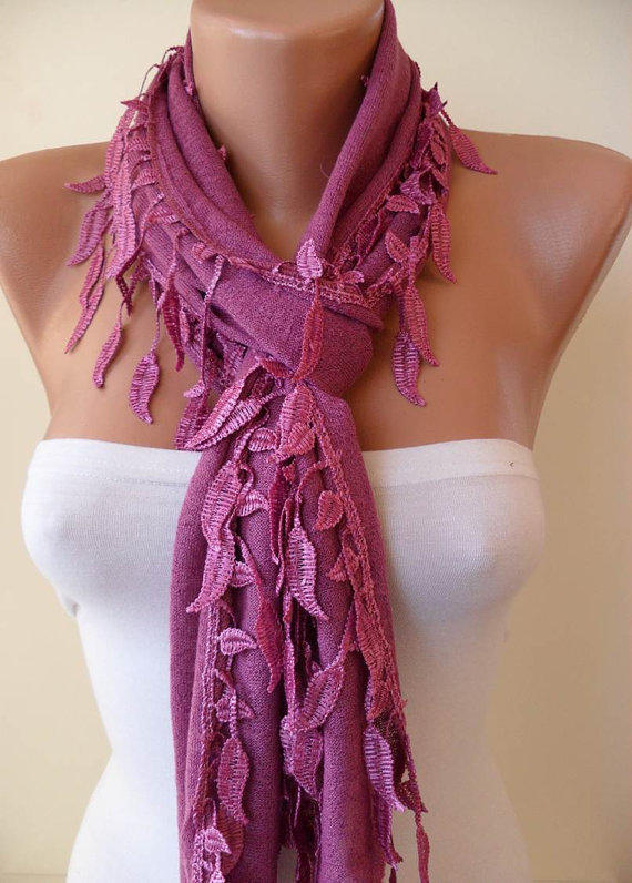 Purple Scarf with Trim Edge Shaped Leaves