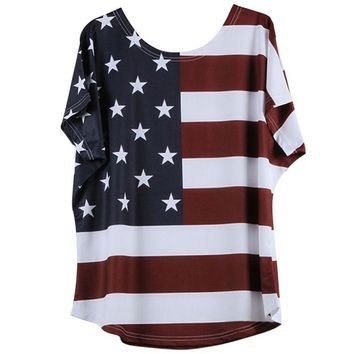 Summer Gir's Printed American Flag Women T-shirt Casual Loose Female Short Sleeve O-neck Tees Tops Clothes