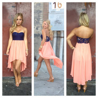 Coral Chiffon Hi Low Navy Lace Bodice Strapless Dress