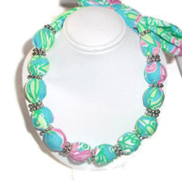 Fabric Necklace Choker made with Lilly Pulitzer by xoribbons