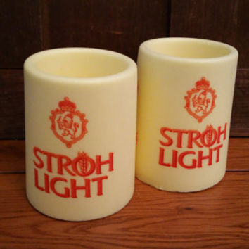 Vintage Stroh Light Huggers Hot or Cold Cup Holder Coozy Koozie Set of 2