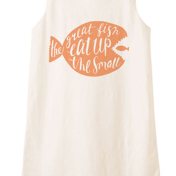 The great fish eat up the small Printed Vintage Linen Mini Shift Dress WDS_01