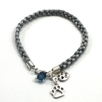 "Braided Cord Puppy Paw, ""I love my Dog"" Charm Bracelet in Black, Grey, Red, and White"