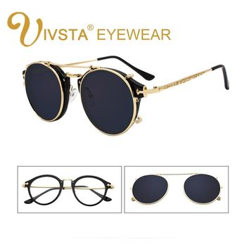 IVSTA Clip On Sunglasses Men Removable Clips Flip Up Glasses Round Steampunk Women Optical Frame Graduated Retro Mirror Lenses