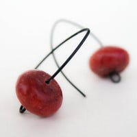 Red Earrings Red Sponge coral Eco friendly French Hook black earrings