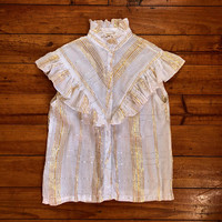 Vintage 1980s 'Orientique' white cotton sleeveless, ruffled blouse with woven silver and gold lurex check / Made in India