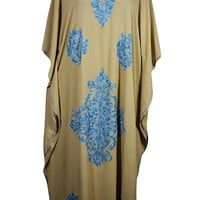 Mogul Womens Caftan Floral Embroidered Embellished Kaftan Cover Up Maxi Dress