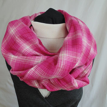 Pink Plaid Scarf, Tartan Plaid, Plaid Infinity Scarf, Pink Scarf, Flannel Scarf, Winter Scarf, Womens Scarf, Oversized Scarf, Christmas Gift