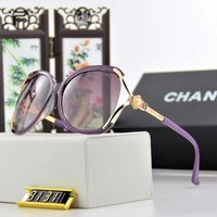Chanel Fashion Women Sunglasses Summer Style Sun Shades Eyeglasses Glasses Sunglasses Purple I12601-1