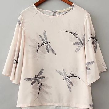 Apricot Sheer Butterfly Print Crop Top