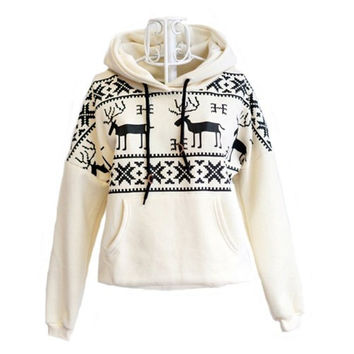 Christmas Deer Snowflake Hoodie Hooded Jumper