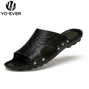 100% GENUINE LEATHER MEN SANDALS-handmade Summer fashion brand beach slippers Men casual shoes moccasin Soft sandals