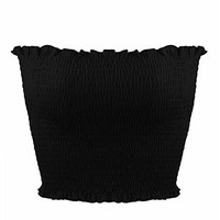 Womens Strapless Pleated Summer Sexy Bandeau Tube Crop Tops